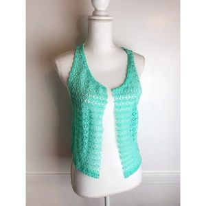 PINK • Teal Lacy Open Front Beach Cover Up